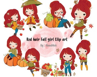 Red hair Fall girl clipart instant download PNG file - 300 dpi