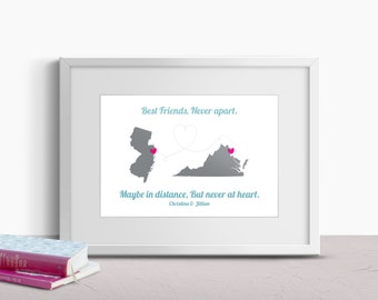 Custom Best Friend Gift - Personalized Gift for Her - Best Friend Map Print - Long Distance Friendship Art - Christmas Gift for Best Friend