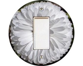 White Daisy Flower Decora Rocker Switch Plate Cover