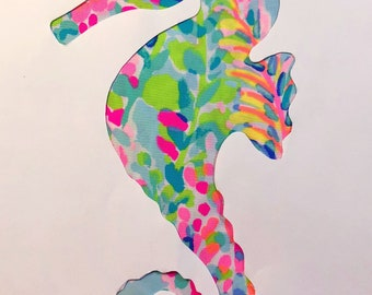 New custom Seahorse pillow made with Lilly Pulitzer Multi Catch the Wave Fabric