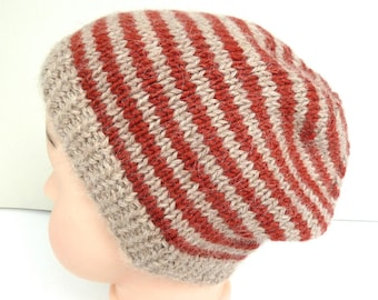 Knit baby hat, boys knit baby beanie, boys knit hat, alpaca & merino wool beanie, baby boy hat, hand knitted baby clothes, size 3 - 6 months
