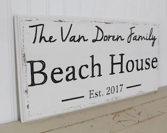 Beach House Sign - Beach Decor  - Beach Sign - Nautical Decor - Custom Sign - Wood Sign - Coastal Decor