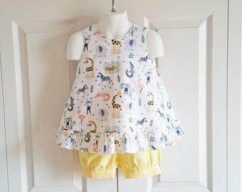 Ruffled Bow Back Swing Back Pinafore Top Bloomers SET baby or toddler - 3 mos to 4T - Jungle Animals