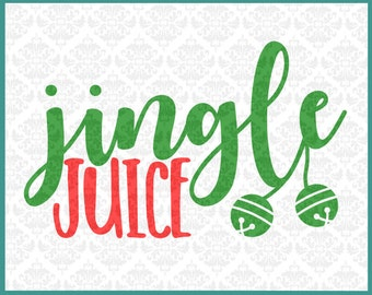 CLN069 Christmas Jingle Juice Wine Beer Ale Bells Holiday SVG DXF Ai Eps PNG Vector Instant Download Commercial Cut File Cricut Silhouette