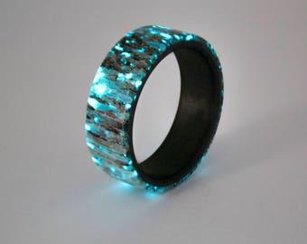 Carbon fiber and Elk Antler Glow Ring