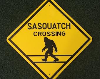 Sasquatch Crossing Metal Sign