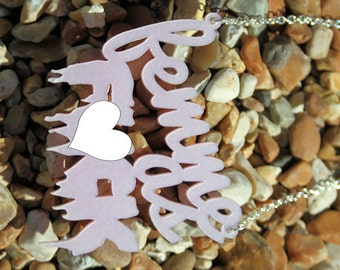 Femme As F--k necklace - laser cut acrylic perspex pink pearl feminist feminism girls charity rape crisis