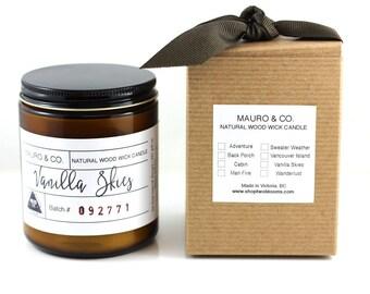 Vanilla Wood wick Candle 8 oz, Natural soy wax candle, Scented Candle, Natural Candle Victoria, BC Vancouver Island Canada