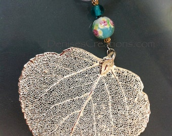 Silver Aspen Leaf Christmas Ornament by Denise Sloan