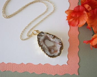 Geode Necklace, Druzy Necklace Gold, BoHo Necklace, Crystal Necklace, Geode Slice, Gold Slice Druzy,GCH9