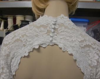 Wedding Bolero, Lace Bolero, Keyhole Bridal Shrug, Stretch Lace Wedding Bolero, Cover Up Unlined