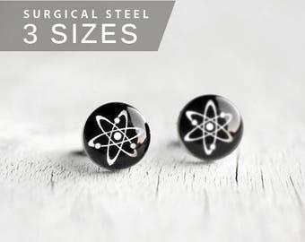 Atom post earrings, Surgical steel studs, Science earring, mens earrings, Tiny earring studs, Unisex earring