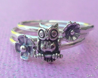 Sterling Silver Owl and Flowers Stacking Ring Set