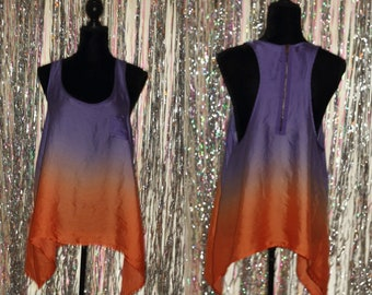 90's Two Tone Assymetric Blouse *Excellent Condition