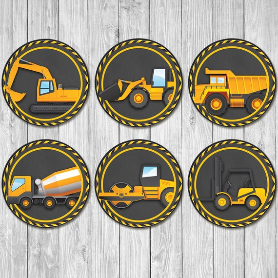 Construction Birthday Cupcake Toppers Chalkboard | Dump Truck Party | Construction Birthday Party | Construction Printables 1st Birthday
