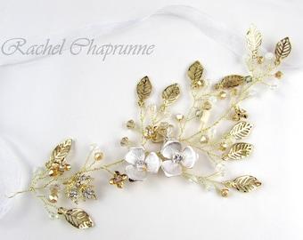 Flower bridal hair vine, Gold bridal hair vine, Hair vine gold, Bridal hair vine gold, Bridal hair vine rustic, Bridal headpiece rustic