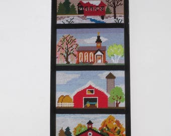 Vintage Needlepoint Country Scenes Framed Needlepoint of Covered Bridge, Church Schoolhouse and Barn