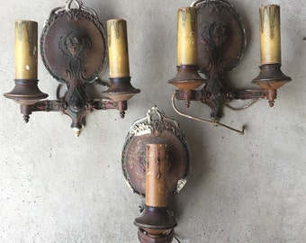Set Of 3 Old Antique Vintage Pot Metal Polychrome Tudor Arts And Crafts Wall Sconces Two Double Arm One Single Arm L0217C115