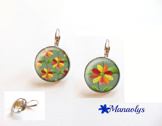Earrings sleepers Bohemian, colorful flowers, 3480 glass cabochons