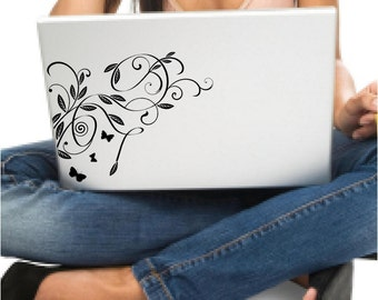 Butterfly swirl vinyl decal for your laptop