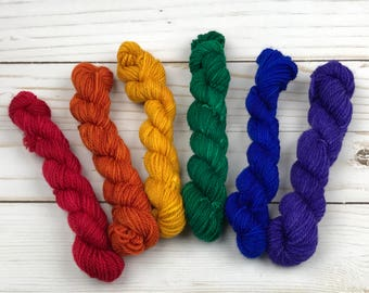 LIMITED EDITION Rainbow Mini Skein Set Hand Dyed Yarn 80/20 Superwash Merino Nylon  knitting wool knitting yarn hand dyed