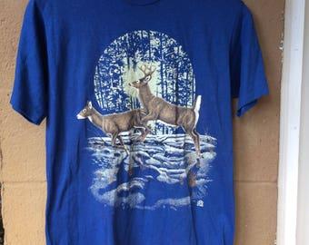 Vtg 90's Whitetail Deer Blue T-Shirt, Sz MD