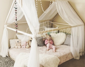 Wood bed FULL/DOUBLE, toddler bed, tent bed, wooden house bed frame, wood nursery bed house, baby bed, bedroom wood bed, kids bed gift SLATS