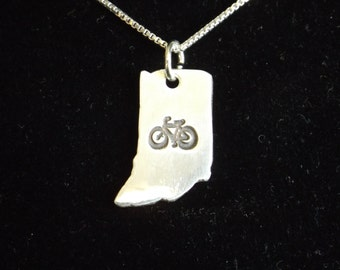 Bike Indiana necklace, State of Indiana necklace, Hoosier state, Indiana charm, IN charm, Bicyclist necklace, Indiana Biker necklace