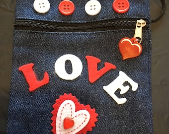 Denim shoulder purse - hand decorated