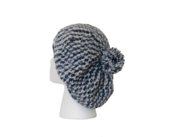 Wool Slouchy Beanie Hat - Light Gray Tweed