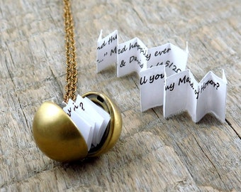Secret Message Necklace, Ball Locket Necklace, Graduation Gift, Proposal Jewelry, Graduation Date Necklace, Wedding Date