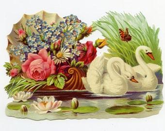 SWAN DIE CUT, Swan Scrap Relief, Victorian Die Cut, Scrap Reliefs, Victorian Scrap Reliefs, Floral Scrap Reliefs, Paper Swans