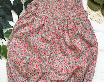 Girls Liberty London Cotton Lawn Ditsy Floral Summer Romper. 0-4 years.