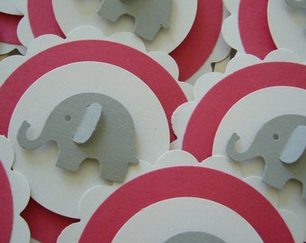 Elephant Cupcake Toppers - Red, Gray and White - Gender neutral - Baby Shower Decorations - Birthday Decorations - Set of 12