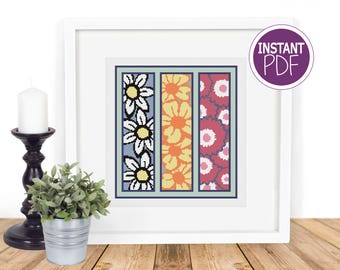 Modern Floral Cross Stitch Pattern PDF, Flower Counted Cross Stitch Chart by Peppermint Purple
