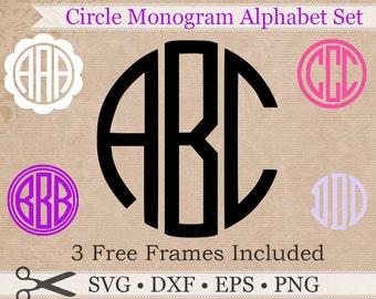 Circle Monogram SVG, Eps, Dxf, Png Files, Circle Monogram Svg ON SALE +3 Free Frames, Circle Svg Silhouette & Cricut Files, Cut Files