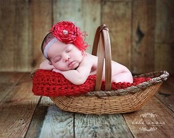 Chunky red newborn baby blanket photo prop basket bucket bowl