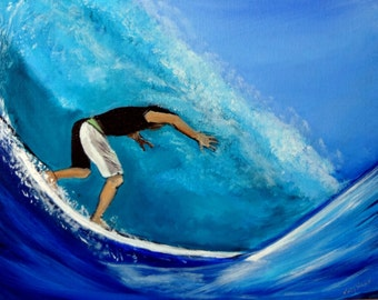 Surfing Barrel Surf Art Original Painting Ocean Wave and Surfer Beach Art