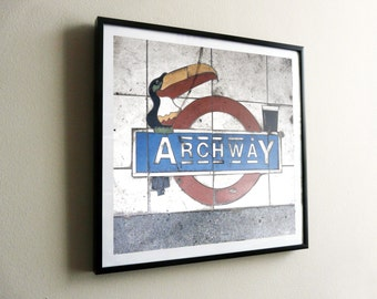 Archway Guinness Toucan on Underground roundel – flat print or framed – options available – FREE UK postage