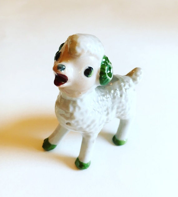 Vintage Mid Century White and Green Lamb Ceramic Figurine Nursery Decor or Baby Gift Made in Japan