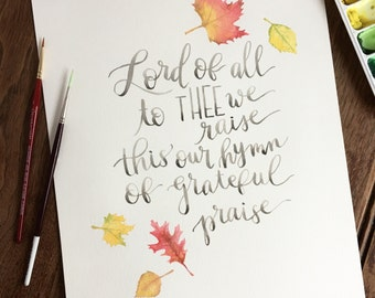 Thanksgiving Hymn, Watercolor Artwork, Inspirational Instant Download