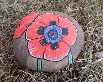 Orange Poppies Painted Rock, Poppies Painting, Orange Poppies Flowers Rock Painting