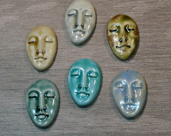 Set of Six Medium Almond sCeramic Face Stone Cabochon, One of Each Color