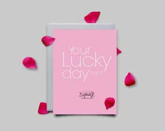 Greeting card, lucky charm, congratulations, pink, greeting card, Geburstagskarte, typography, design