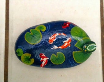 Koi Pond Hand Painted Rock
