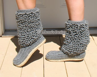 Crochet Pattern 140 Crochet Boot Pattern Cozy Women's Lamb Boots Boot Crochet Pattern - Crochet Slipper Pattern - Adult Winter Boots