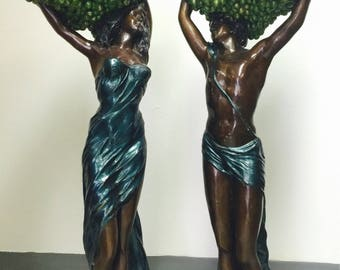 "European Bronze Jardiniere Vintage Blackamoores 42"" Tall 2Pc Set"
