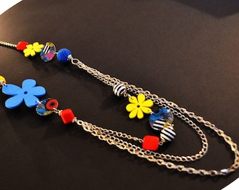 Collier long funky floral/ long necklace funky flower