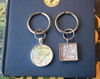 KeyRing, Map Pendant KeyRing, Add A KeyRing Silver Round Accessory
