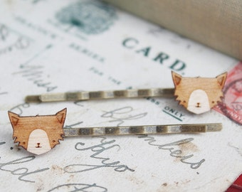 Laser Cut Wooden Cat Hair Grips
